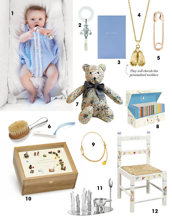 Gift guides luxury christenings baby london teddy bear rattle 19599 silvergroves 3 baby notes 45 smythson 4 pendant 1950 wrightsonplatt 5 personalised pin 235 negle Gallery