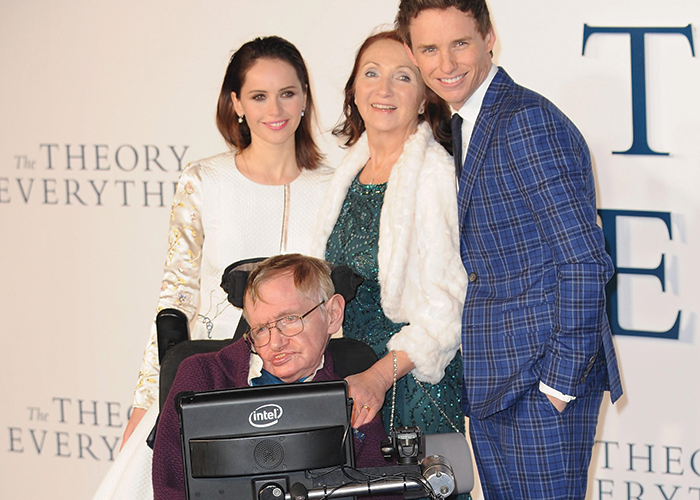 Felicity Jones, Jane Wilde, Eddie Redmayne and Stephen Hawking at the premiere of 'The Theory of Everything'