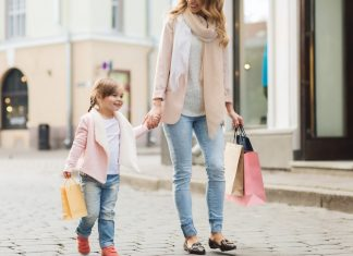 Mum and daughter shopping