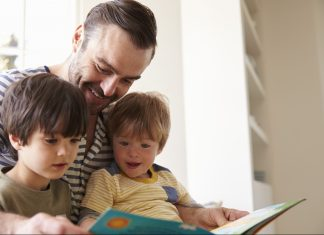 back-to-school-books-dad-reading-to-children