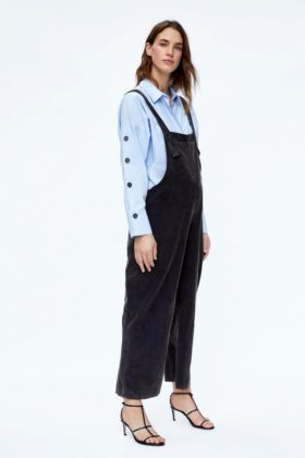 zara maternity blue shirt and dungarees