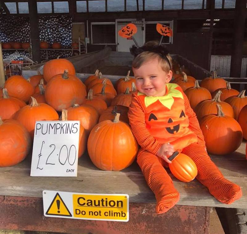 Baby in a pumpkin costume