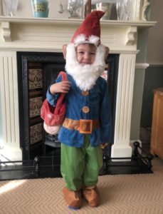 Boy in gnome costume