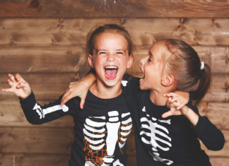 Girls dressed up for Halloween