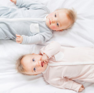 Twin Models in Zip-Up Sleepsuit - Blush & Blue