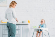 Mum and baby in highchair