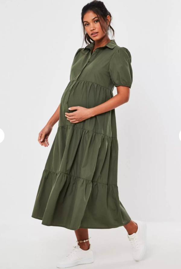 green-dress-missguided-maternity-collection