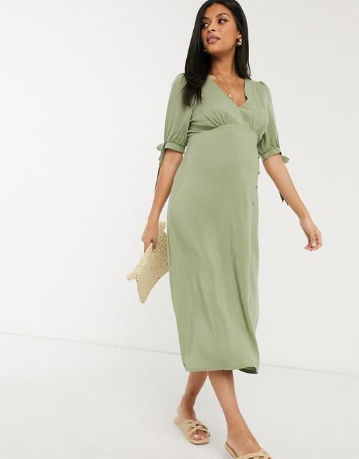 khaki-tea-dress-maternity