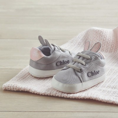 Personalised Grey Bunny Ear Detail Baby Trainers - Little Luxuries