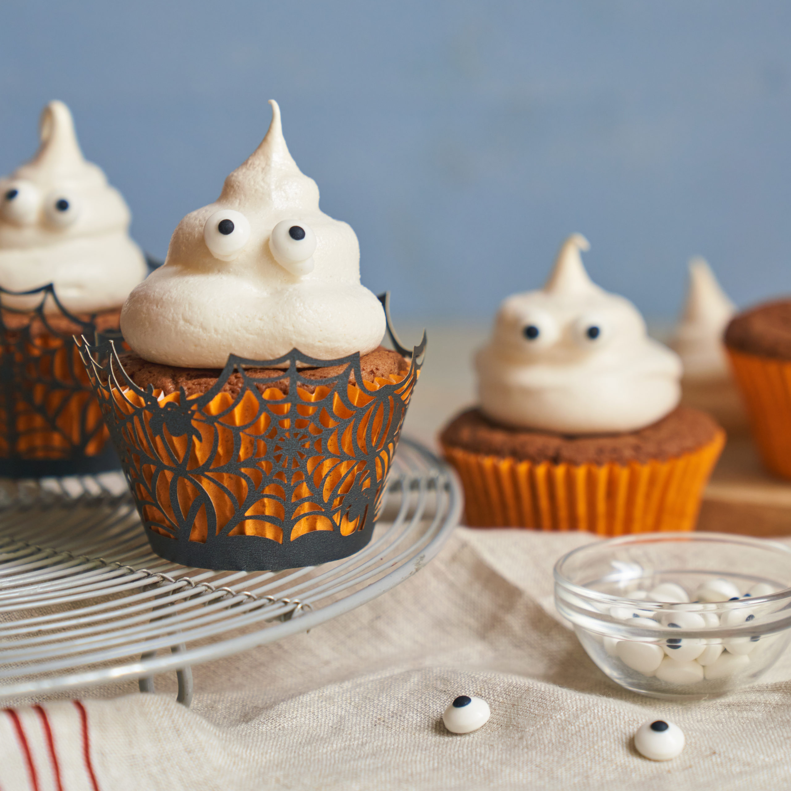 Ghoulish Halloween Recipes Chocolate Ghost Cupcakes